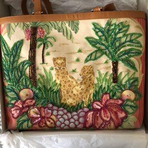 Isabella Fiore cheetah beaded bag